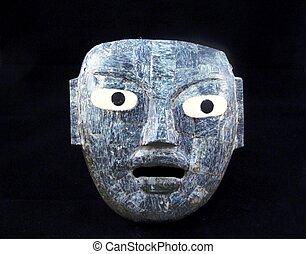 Un, Maya, entierro, máscara, México
