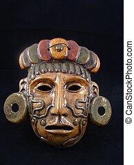 arcilla, máscara, maya, guerrero