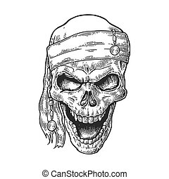 Skull pirate in bandana smiling. Black vintage engraving...