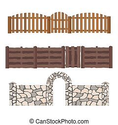 Different designs of fences and gates isolated