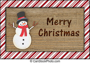 Old fashion Christmas greeting, A retro snowman on weathered...