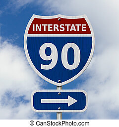 USA Interstate 90 highway sign, Red, white and blue...