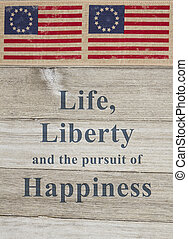 USA patriotic message, USA patriotic old flag on a weathered...
