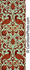 Pattern with birds. - Rich floral pattern. Seamless filigree...