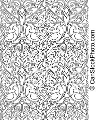 Pattern with birds for wallpaper. - Black and white floral...