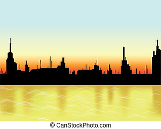 Sunset in the city and sea. Vector Illustration
