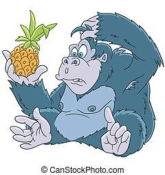cartoon gorilla animal - Cute and funny cartoon gorilla with...