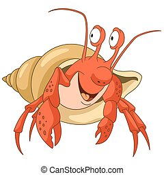 cartoon hermit crab - Cute and happy cartoon hermit crab...