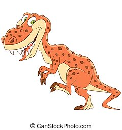 cartoon tyrannosaurus dinosaur - Cute and happy cartoon...