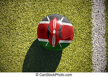football ball with the national flag of kenya lies on the...