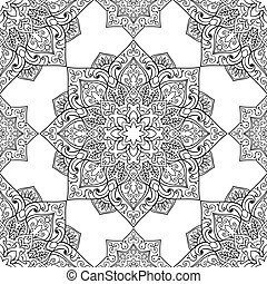 Symbolic pattern of mandala. - Seamless pattern of symbolic...