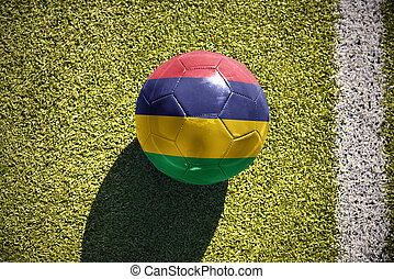 football ball with the national flag of mauritius lies on...