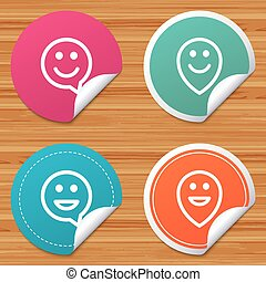 Happy face speech bubble icons. Pointer symbol. - Round...