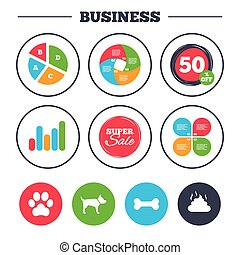 Pets icons. Dog paw and feces signs. - Business pie chart....