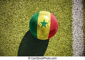 football ball with the national flag of senegal lies on the...