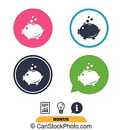 Piggy bank sign icon. Moneybox symbol. Report document,...