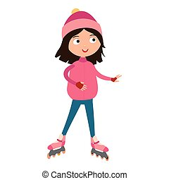 Cute young girl in roller pink skates vector. - Roller...