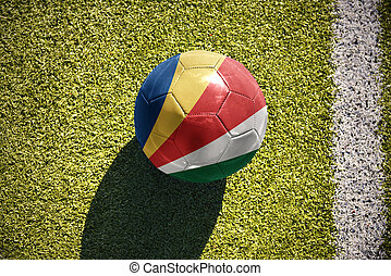football ball with the national flag of seychelles lies on...
