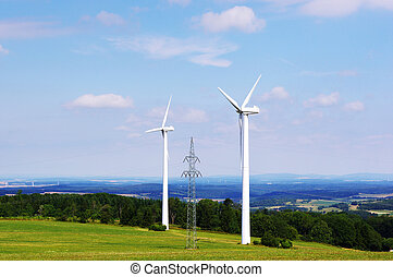 Two wind turbines and pylone