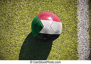 football ball with the national flag of sudan lies on the...