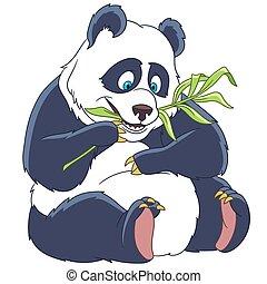 cartoon panda bear - Cute and happy cartoon panda bear,...