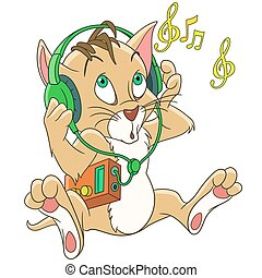 cartoon cat music headphones - Cute cartoon kitty cat...