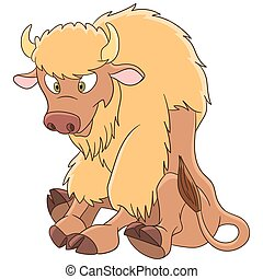 cartoon american bison - Cute and happy cartoon american...
