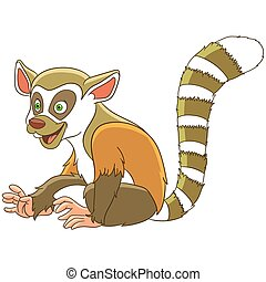 cartoon lemur animal - Cute and happy cartoon lemur animal,...