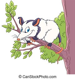cartoon opossum animal - Cute and happy cartoon opossum...