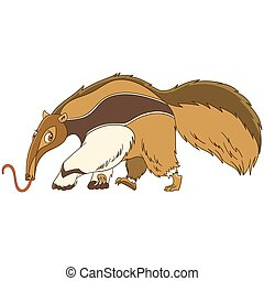 cartoon anteater animal - Cute and funny cartoon anteater...