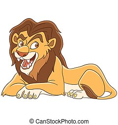 cartoon lion animal - Cute cartoon wild lion animal,...