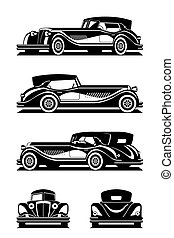 Classic car in different views - vector illustration