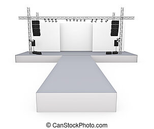 Catwalk - Empty fashion show stage with runway 3D rendered...