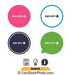 Way out right sign icon. Arrow symbol. Report document,...
