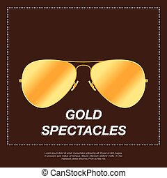 Gold aviator sunglasses with gold frame. Vector illustration...