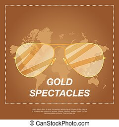Gold aviator sunglasses with gold frame. Sun glasses with...