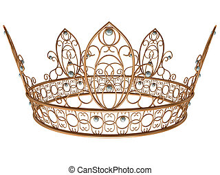 Gold royal crown isolated on a white background