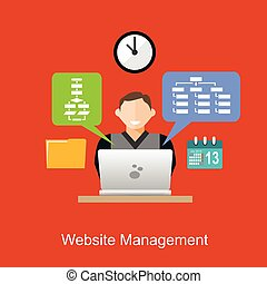 Website management illustration concept. Flat design.