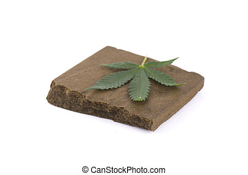 Block of hashish, a medical marijuana concentrate isolated...