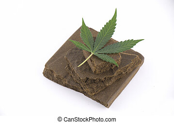 Blocks of hashish, a medical marijuana concentrate isolated...