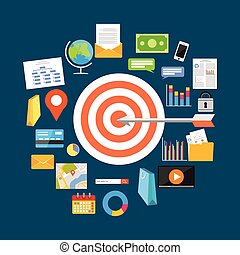 Business target concept illustration. Flat design illustration.
