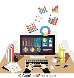 Business graph illustration. Flat design illustration concepts for business, business statistics, business analytics, business growth, monitoring trend.