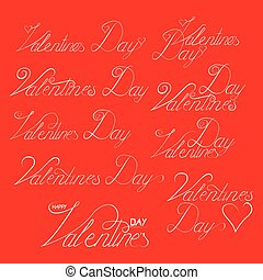 Valentine s day hand lettering set, handmade ink calligraphy
