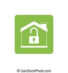 Isolated house and padlock design