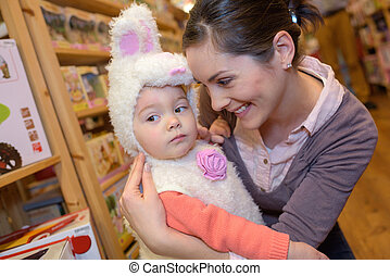 young girl disguised as easter bunny