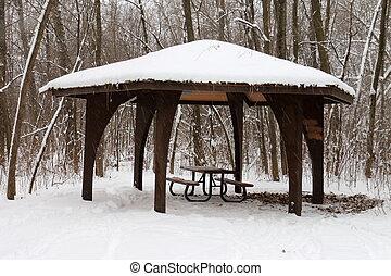 Snowy Picnic Pavilion
