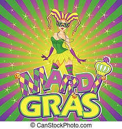 Mardi Gras Girl Design - Colorful Mardi Gras girl design