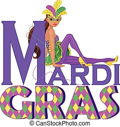 Mardi Gras Girl Design - Beautiful girl sitting on Mardi...
