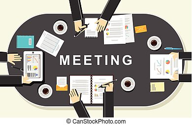 Meeting concept illustration. Flat design. Discussion...