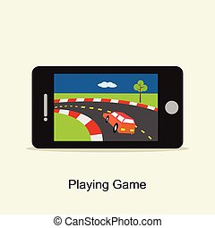 Playing game on mobile phone Illustration. Flat design.